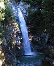 Cascade Falls Regional Park is located just northeast of Mission, B.C. The park's main attraction is Cascade Falls, which drops an impressive 30 m into a large pool. A trail featuring stairs and varying in difficulty from easy to moderate leads to a viewing platform overlooking Cascade Falls.