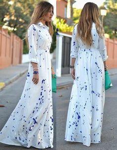 Stylish long flowy shirt design maxi dress featuring lapel long sleeves. Material: Chiffon