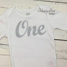 One - silver glitter shirt bodysuit, First Birthday, 1st Cake Smash baby girl infant toddler, sparkly sparkle glittery half birthday 2nd two by HoneyLoveBoutique