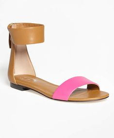 d7988479704 Brooks Brothers Color-Block Ankle-Strap Sandals