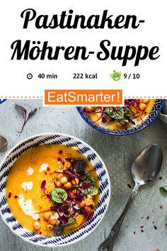 Vegetarisch abnehmen: Pastinaken-Möhren-Suppe - kalorienarm - anspruchsvoll - So gesund ist das Rezept: 9,3/10 | Eine Rezeptidee von EAT SMARTER | Für Viele, Gäste, Klassische-Rezepte, Resteverwertung, Schnelle Rezepte, Singleküche, Was koche ich am Wochenende, Was koche ich morgen, Studentenküche, Wochenende, Abnehmen Abendessen, Abnehmen im Herbst, Abnehmen im Winter, Abnehmen mit Genuss, Abnehmen Mittagessen, Suppen, Mittagessen, Abendessen, Hauptspeise #unter250kcal #gesunderezepte Eat Smarter, Chana Masala, Soups And Stews, Christmas Time, Food And Drink, Veggies, Low Carb, Cooking, Ethnic Recipes
