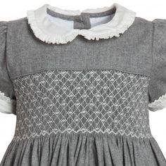Grey Hand-Smocked Dress - Dresses - Baby | Childrensalon