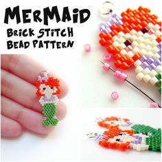 Mermaid - Bead Weaving PATTERN for Seed Bead Earrings, Pendants, Charms - Brick…