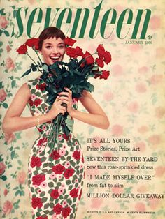 It's Delores Hawkins again! The floral dress she was in on our January '56 cover could be created with a sewing pattern inside of the issue. Are any of our Seventeen readers seamstresses?