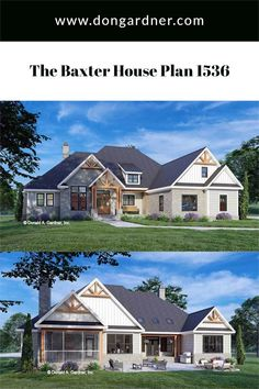 The Baxter house plan 1536 is now available! This rustic cottage features a stone and cedar shake facade accented with vertical boards and decorative gable brackets. The floor plan is thoughtfully arranged with an island kitchen opening to a cozy great room and a spacious dining area. A rear porch with skylights takes living outdoors and a screened porch with a fireplace is ideal for cooler months. #wedesigndreams #cottagehouseplan Country Style House Plans, Craftsman Style House Plans, Cottage House Plans, Dream House Plans, Farmhouse Style, Rustic Farmhouse, Rustic Cottage, Build Your Dream Home, Types Of Houses
