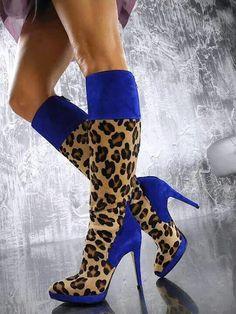 Royal blue & animal print boot