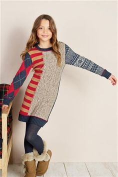 Buy Patchwork Knitted Dress from the Next UK online shop
