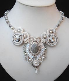 awesome White Cream and Silver Bridal Soutache necklace by MiriamShimon, $185.00...