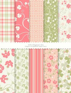 "Digital Paper, Digital Scrapbook Paper Pack (8.5x11""-300 dpi) -- Instant Download -- 10 Digital papers -- Floral 106"