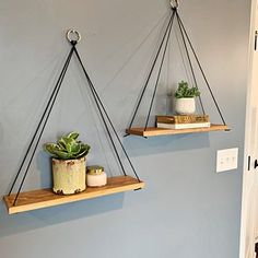 Hanging Shelves / Set of 2 Large Shelves / Floating Shelves / Large Shelves, Wooden Shelves, Wooden Ladder, Diy Hanging Shelves, Floating Shelves, Hanging Table, Hanging Pots, Diy Home Decor, Room Decor