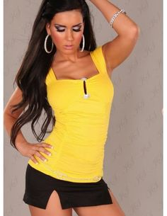 Sexy Optic Yellow Club Top With Rhinestone Buckle Features Pleated, wrap-effect front, fitted waist, ruched bust, fully lined and slips on. Has key hole and rhinestone buckle on the cleavage.  Make sure their eyes never leave you while slipping into this sexy Ultra Chick Feminine Clubwear Top.  Wear with Jeans or a Sexy Mini Skirt for a great day or night out.