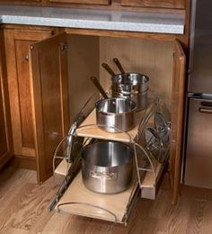 base cabinet storage pullout for pots pans skillets and their lids