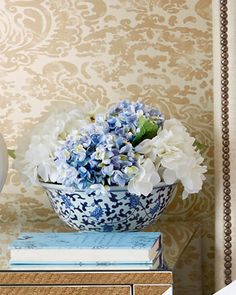 Blue+&+White+Hydrangea+Faux-Floral+Arrangement+by+John-Richard+Collection+at+Neiman+Marcus.