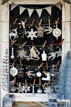 2015 Glitter Christmas Mantel Advent Calendar, Silver Christmas Decor Ideas - LoveItSoMuch.com