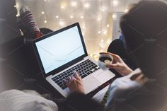 Ad: Hipster girl using computer by A_B_C on @creativemarket. Hipster girl using computer and drink cup coffee in home atmosphere, person holding laptop on background glow bokeh Christmas illimination, #creativemarket Technology Photos, Hipster Girls, British Virgin Islands, Bosnia And Herzegovina, Grenadines, Xmas Decorations, Republic Of The Congo, Bokeh, Glow