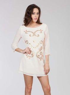 3/4 sleeve cream mini dress #HarperTrends
