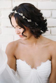 Leaf inspired crystal bridal hair ribbon