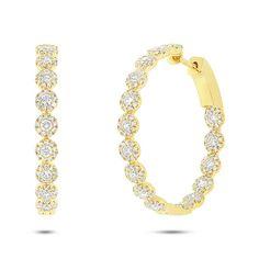 1.58ct 14k Yellow Gold Diamond Hoop Earrings - Allurez.com Diamond Choker, Diamond Hoop Earrings, Cluster Earrings, Diamond Studs, Or Rose, Rose Gold, Round Cut Diamond, Fine Jewelry, Jewelry Design