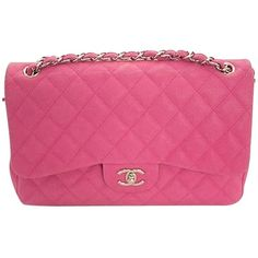Pre-owned Chanel Fucshia Quilted Caviar Leather Classic Jumbo Double... ($3,855) ❤ liked on Polyvore featuring bags, handbags, pink, real leather handbags, leather handbags, chanel purse, quilted handbags and genuine leather purse