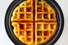 Cheesy Leftover Mashed Potato Waffles recipe on justataste.com