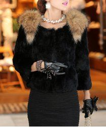 $33.65 Fur Splicing Solid Color Noble Style 3/4 Sleeves Coat For Women