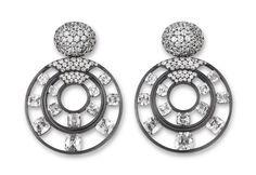 Hemmerle earrings - diamonds, blackened silver, white gold. Photo courtesy of Hemmerle