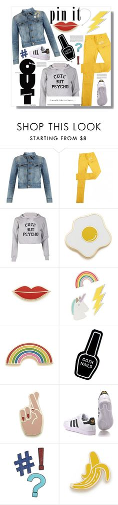 """""""Pins With Personality"""" by sarah-crotty ❤ liked on Polyvore featuring Yves Saint Laurent, Maison Margiela, Georgia Perry, Red Camel, Witch Worldwide, adidas Originals, Design Lab, denim, Sweater and adidas"""