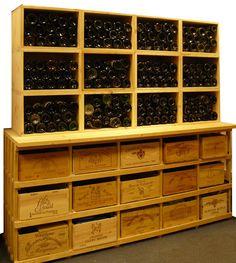 Casiers pour bouteilles, casier vin, cave à vin, rangement du vin, aménagement cave, casier bois, meuble en bois. Le combi 5 surmonté de 12 Stapel