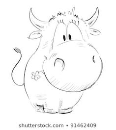 Cow Cartoon Drawing, Cow Drawing, Cartoon Cow, Easy Cartoon Drawings, Animal Drawings, Easy Drawings, Drawing Ideas, Cow Sketch, Unicornios Wallpaper