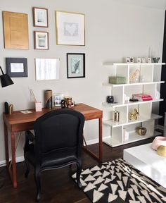 Mix it up a bit. So many different ways to do a gallery wall. Bold and elegant home office and sitting room