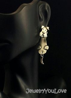 Sterling Silver Fox Terrier Front and Back Earrings - Binky