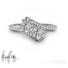 Ever Us ™ 18kt White Gold 1/2ct tw Two Stone Diamond Ring, featuring... ($2,198) ❤ liked on Polyvore featuring jewelry, rings, white gold diamond ring, white gold jewellery, forevermark jewelry, diamond rings and diamond signet ring