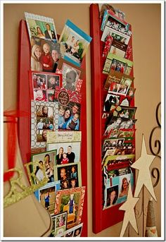 Using old shutters to display all the Christmas cards you get each year. Too cute!