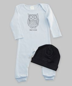 This Blue & Black Owl Playsuit & Beanie by Ruff Truff is perfect! #zulilyfinds