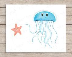 Jellyfish and Starfish Friends Art Print, Ocean Nursery Decor, Ocean Baby Room, Sea Nursery, Watercolor Nursery, Jellyfish Art, Starfish Art