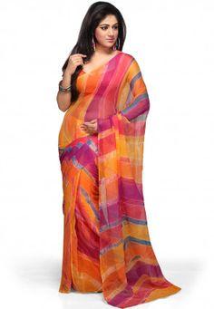 Lehariya en mousseline de soie Saree dans Multicolor