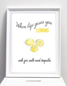 When life gives you lemons, illustration with message. A3 poster.