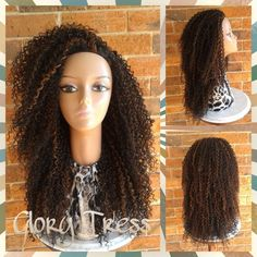On Long Kinky Curly Half Wig Curly Afro Wig African American Wig... ($69) ❤ liked on Polyvore featuring beauty products, haircare, hair styling tools, bath & beauty, black, hair care, wigs and curly hair care
