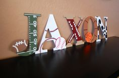 Sports Themed Handpainted Wall Letters by LovelyLetterBoutique