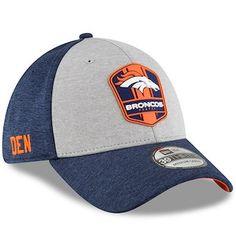73773bde577 Men s New Era Heather Gray Navy Denver Broncos 2018 NFL Sideline Road  Official 39THIRTY Flex Hat