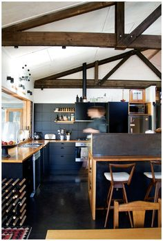 black cabinets and black tile