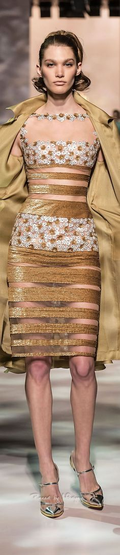 Georges Chakra ~ Couture Summer Sheer Nude Dress w Floral + Gold Embellishments 2015