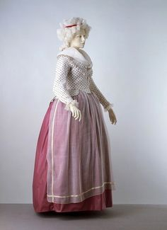 From the V, 1785-90.    This outfit is adorable! And the info on 18th century aprons is great.