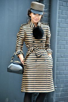 NYFW. Miroslava in stripes. Street style