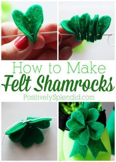 to Make Felt Shamrocks - Easy St. Patrick's Day Craft Idea How to Make Felt Shamrocks - So cute and easy! The perfect way to stay pinch-free!WAY WAY may refer to: St Patrick's Day Crafts, Holiday Crafts, Crafts For Kids, Holiday Ideas, St Paddys Day, St Patricks Day, Felt Flowers, Fabric Flowers, Felt Crafts