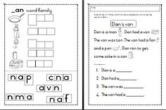 ***FREE*** cvc _an word family activities Word Family Activities, Word Families, Teaching Materials, Worksheets, Language, How To Get, Education, Words, Free