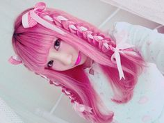 Japanese fashion girl with pink braided hair
