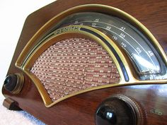 Vintage 1950s Old Zenith Brass Symphony Hall Half Moon Am FM Tube Radio L K   eBay