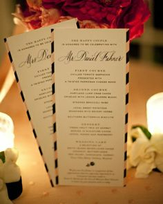 wedding menu card with rep stripe borders