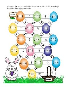5th Grade Fraction Review Maze - Easter theme by See ya later educator | Teachers Pay Teachers
